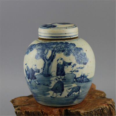 Chinese Old Blue and White Kids Play Pattern Porcelain Lid Jar