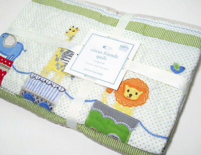 Pottery Barn Kids Circus Train Friends Lion Elephant Baby Toddler Crib Quilt New
