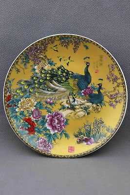 Collectable China Porcelain Paint Blooming Flower & Peacock Exquisite Plate Gift