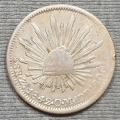 1842 Zs OM Mexico 8 Reales Silver Coin - KM# 377.13