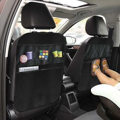 Kick Mats Car Seat Back Protector Organizer with 5 Compartments Travel Accessory