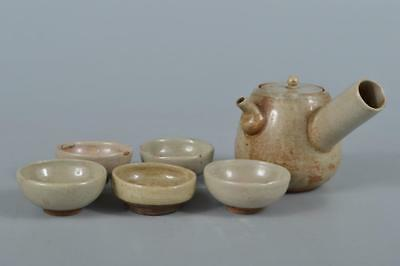 R3592:Japanese Old Akahada-ware White glaze Sencha TEAPOT & CUPS Tea Ceremony