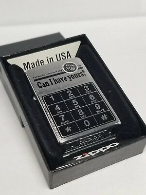 Zippo 852211 LOST Number Can I Have Yours Phone Lighter Brushed Chorme  NEW