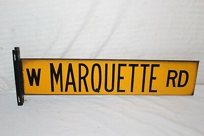 "Vintage 1952 Marquette Chicago Street 2 Sided 27"" Metal Porcelain Gas Oil Sign"