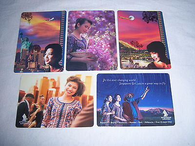 (5) single SINGAPORE AIRLINES playing cards--SINGAPORE GIRLS--stewardess--MINT