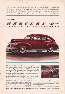 1939 Ford Mercury  V8 Type Red Car Vintage Car Art Print Ad