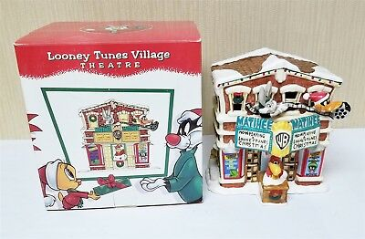 Warner Bros Looney Tunes Village Christmas Theater W/ Orig Box Bugs Bunny