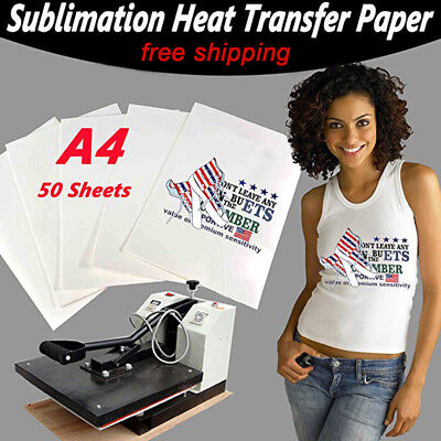 50Pc Iron On T-shirt Light Fabric Mugs A4 Heat Transfer Paper for Inkjet Printer