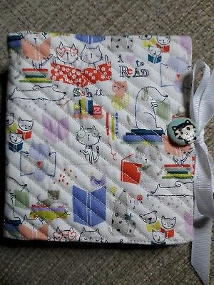 Quilted Handmade Needle Book White Cats Books Fabric wooden cat button