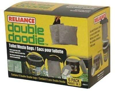 6 Double Doodie Portable Toilet Waste Bag Hassock Luggable Loo Leakproof No Mess