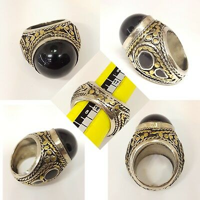 Vintage Unique Huge Afghan Bronze Carving Ring With Beautiful Black Agate Stone