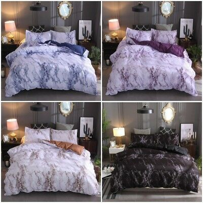 Marble Doona/Duvet/Quilt Cover Set Single Double Queen King Size Bed Pillowcase