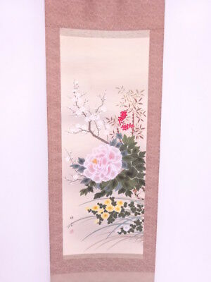 3803509: Japanese Wall Hanging Scroll / Hand Painted / Four Seasons Flowers
