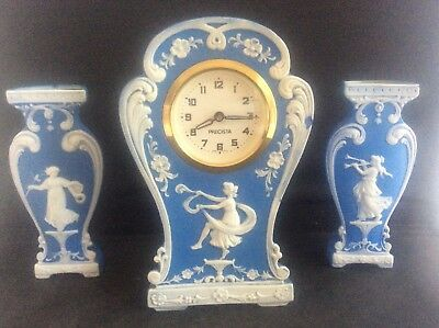 Vintage Blue Jasper Ware Pottery Mantle Clock Garniature with 2 posy Vases Class