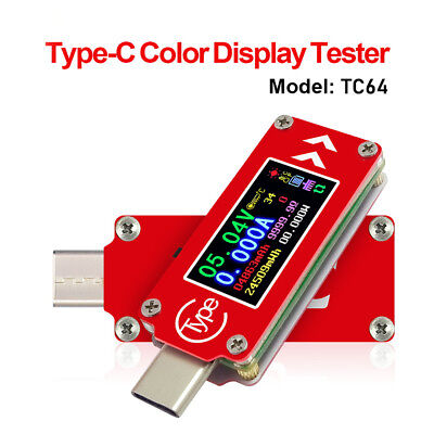 TC64 Type C USB-C Color Display PD Charger Tester Charging Voltage Current Meter