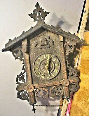 Antique American Cuckoo Clock Company Railroad Clock For Restoration Weights Pen
