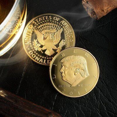 2018 President Donald Trump Gold Plated EAGLE Commemorative Coin with Fit Case