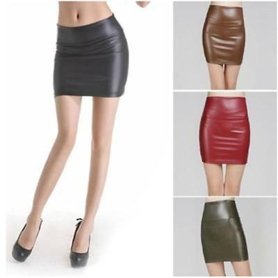 Womens Vinyl Wet Look Faux Leather Pocket Button Short Ladies Mini Skirt 8C