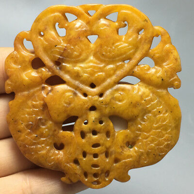 Complete Chinese ancient old hard jade hand carved  carp Pendants 1pcs