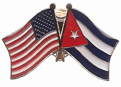PACK of 3 Cuba & US Crossed Double Flag Lapel Pins, Cuban & American Friendship
