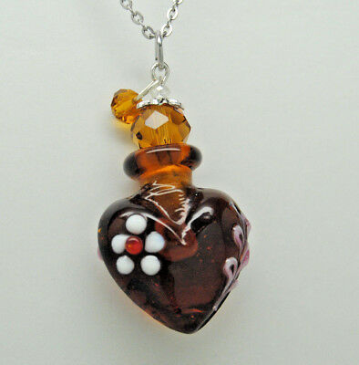 Cremation Jewelry, Amber Art Glass, White Flower Heart Urn Necklace