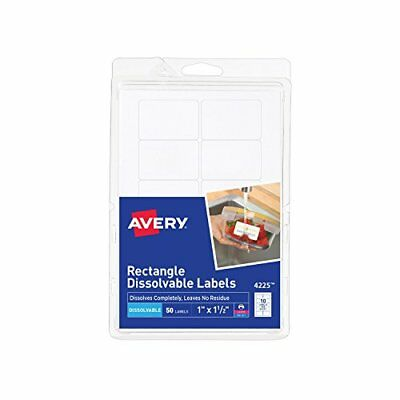 """Avery Dissolvable Rectangle Labels, 1"""" x 1-1/2"""", Pack of 50 (4225)"""
