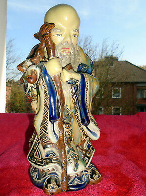 ancient house god Porcelain Skulptur bunt glasiert Shao Lao H 25 cm B 10,5cm rar