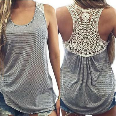 Womens Backless Loose Tank Vest Cami Top Summer Casual T Shirt Sleeveless 8C