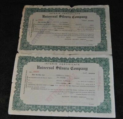 1920 antique Lot of Two Universal Silvers Company Interim Certificate