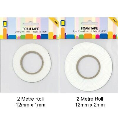 Foam Tape Roll -  12mm x 2m -  White Sticky Double Sided - 1mm or 2mm Thick