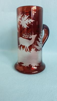 Stunning 19th Cent Bohemian Ruby Crystal Cut to Clear Beer Stein w Forest Stag