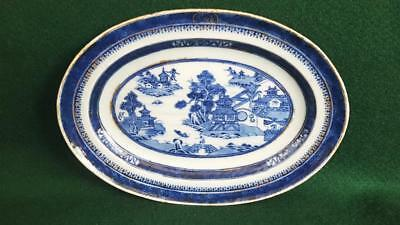 C19th Chinese Export Flow-blue China Willow Patt Sml Serving Platter w Monogram