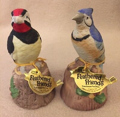 "Pair of Jasco 1979 ""Feathered Friends"" Blue Jay & Woodpecker Hand Painted Bells"