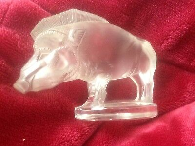 Lalique Vintage Sanglier Or Wilde Boar Paperweigh Or Car Mascotte Signed