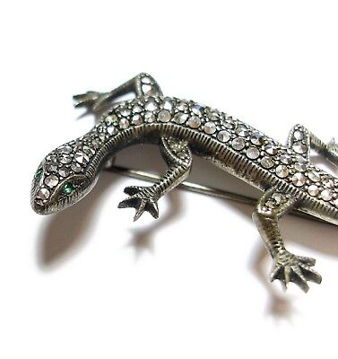 Beautiful Old Vintage 1950S Novelty Silver & Marcasite Lizard Brooch Pin (A1)