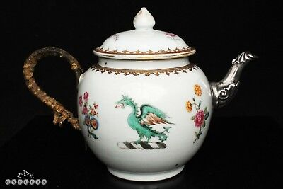 18th Century Chinese Export Armorial Porcelain & Silver Famille Rose Teapot