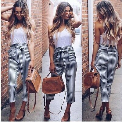 Fashion Women's Pants High Waist Elastic Drawstring Striped Casual Trousers 8C