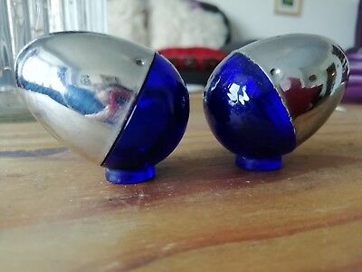 Blue Glass Salt Cellars Antique Vintage