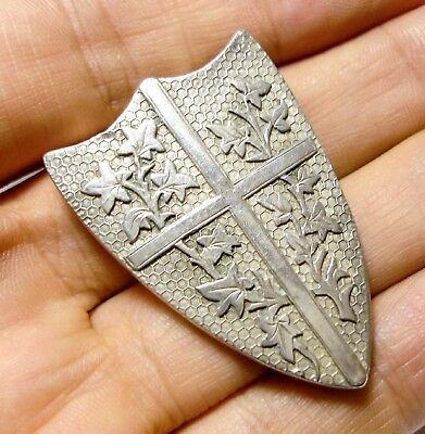 Beautiful Old Antique Victorian Aesthetic Silver Shield Ivy Brooch Pin (A6)