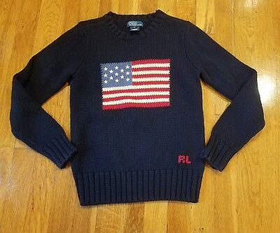 Polo by Ralph Lauren Boys Small USA Flag Knit Sweater Blue