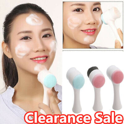 3D Double Facial Cleansing Brush for Cleansing Exfoliating Scrubber to Massage