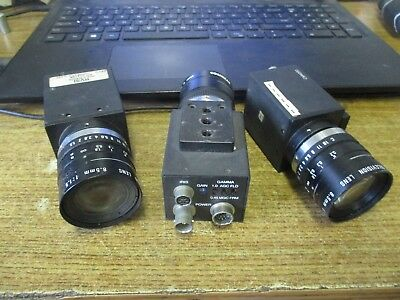 Lot Of 3 Rvsi Video Camera With Cosmicar Television Lens 8.55 Mm 002-Cm4000