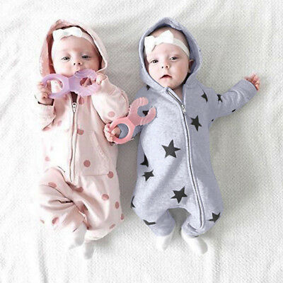 1pc Newborn Infant Baby Girl Boy Star Print Lovely Zipper Romper Jumpsuit Outfit