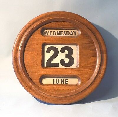 Antique Vintage Round Wall Perpetual Calendar. Working Order. Complete.
