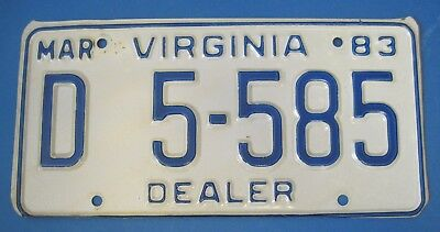 1983 Virginia New car Dealer License Plate excellent