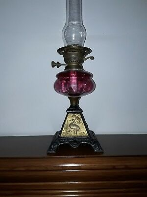 victorian cranberry bedroom, parlor oil lamp Egyptian style