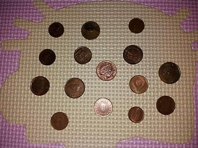 Lot Of 15 World Mixed Bronze Coins Vintage Large Copper Collection Group