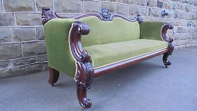 Antique William IV Mahogany Framed Sofa Settee Couch