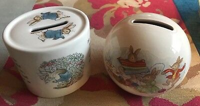 Vintage 1980s 90s WEDGWOOD Peter Rabbit & ROYAL DOULTON 'Bunnykins' Money Boxes