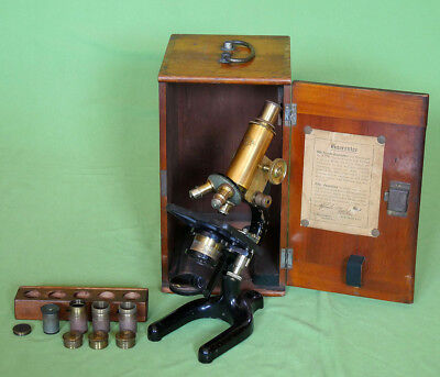 Extremely Rare W. R. Prior London Brass Microscope in Mahogany case XIX / XX c.
